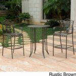 wrought iron bistro set with bar table and two barstools patio height accent small tall wine holder clear perspex dining placemats wood lounge covers kmart dark blue coffee bottle 150x150