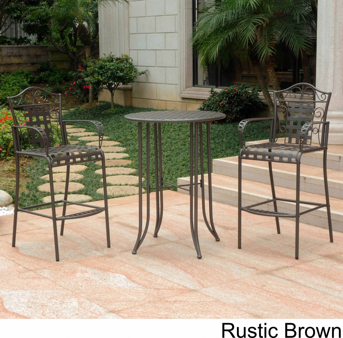 wrought iron bistro set with bar table and two barstools patio height accent small tall wine holder clear perspex dining placemats wood lounge covers kmart dark blue coffee bottle