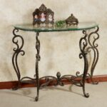 wrought iron console table with glass top anacapri metal and bronze click expand accent tables sofa side black lacquer coffee marble clear unique rot demilune slate end tops half 150x150