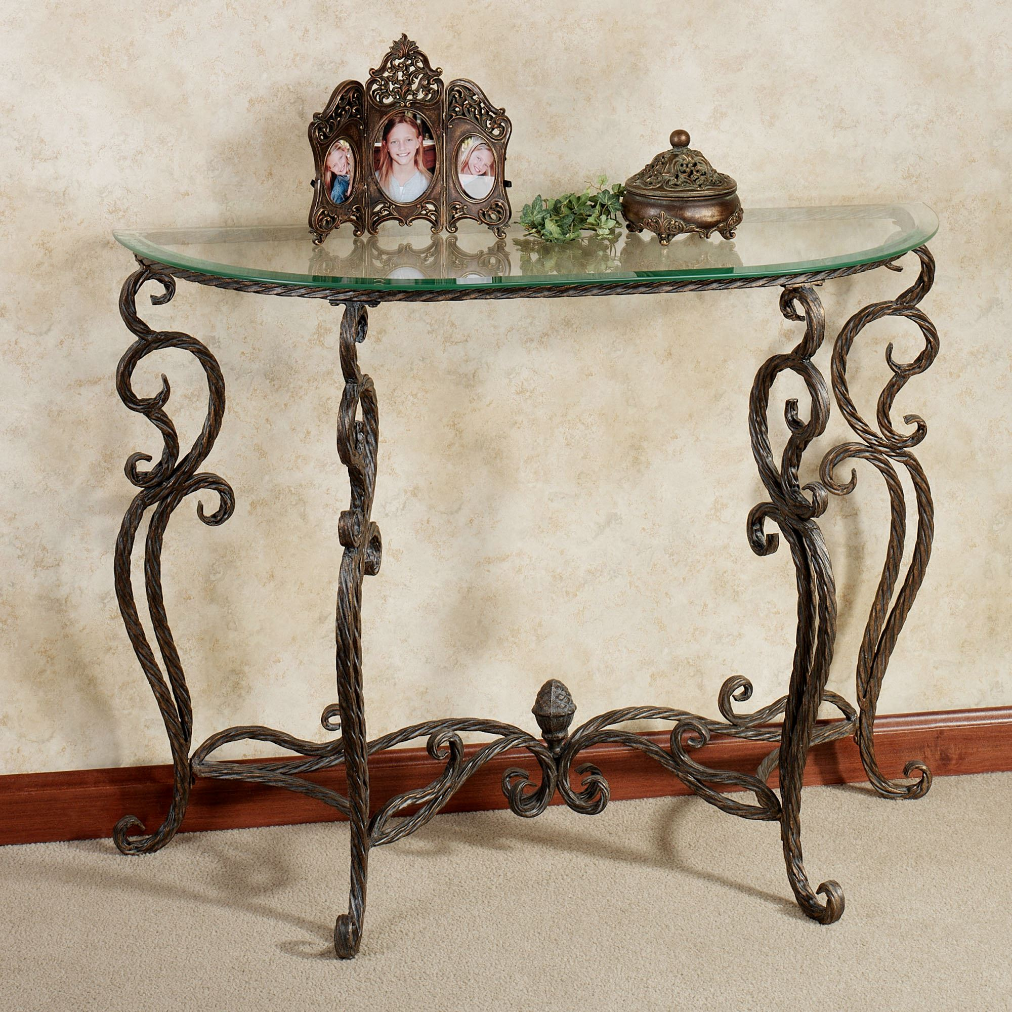 wrought iron console table with glass top anacapri metal and bronze click expand accent tables sofa side black lacquer coffee marble clear unique rot demilune slate end tops half