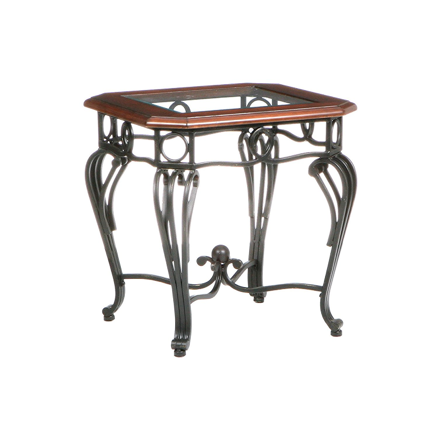 wrought iron end tables with glass tops home furniture modern accent metal table top red wall clock small square white coffee decoration ideas pottery barn leather armchair