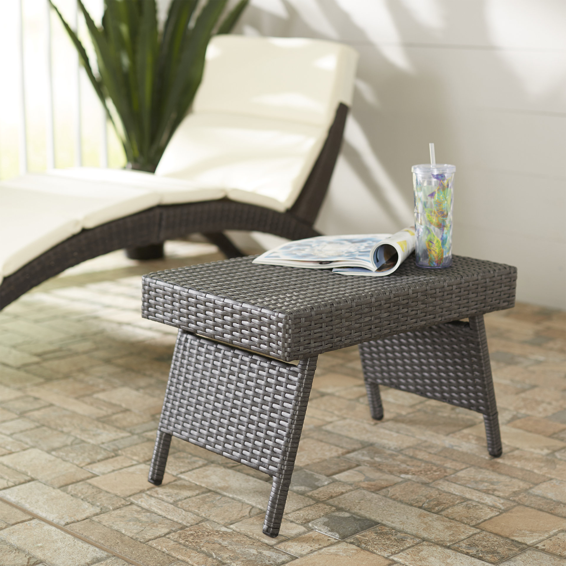 wrought studio ellington circle outdoor foldable wicker side table middletown accent patio reviews round metal and glass end tables drum shaped bedside ikea desk legs rectangular