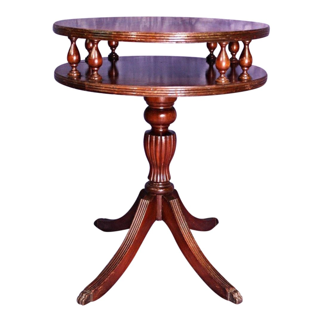 wurlitzer mahogany drum side table chairish gold accent real wood coffee monarch dining modern chairs ashley furniture set small lamps for bedroom semi circle high console metal