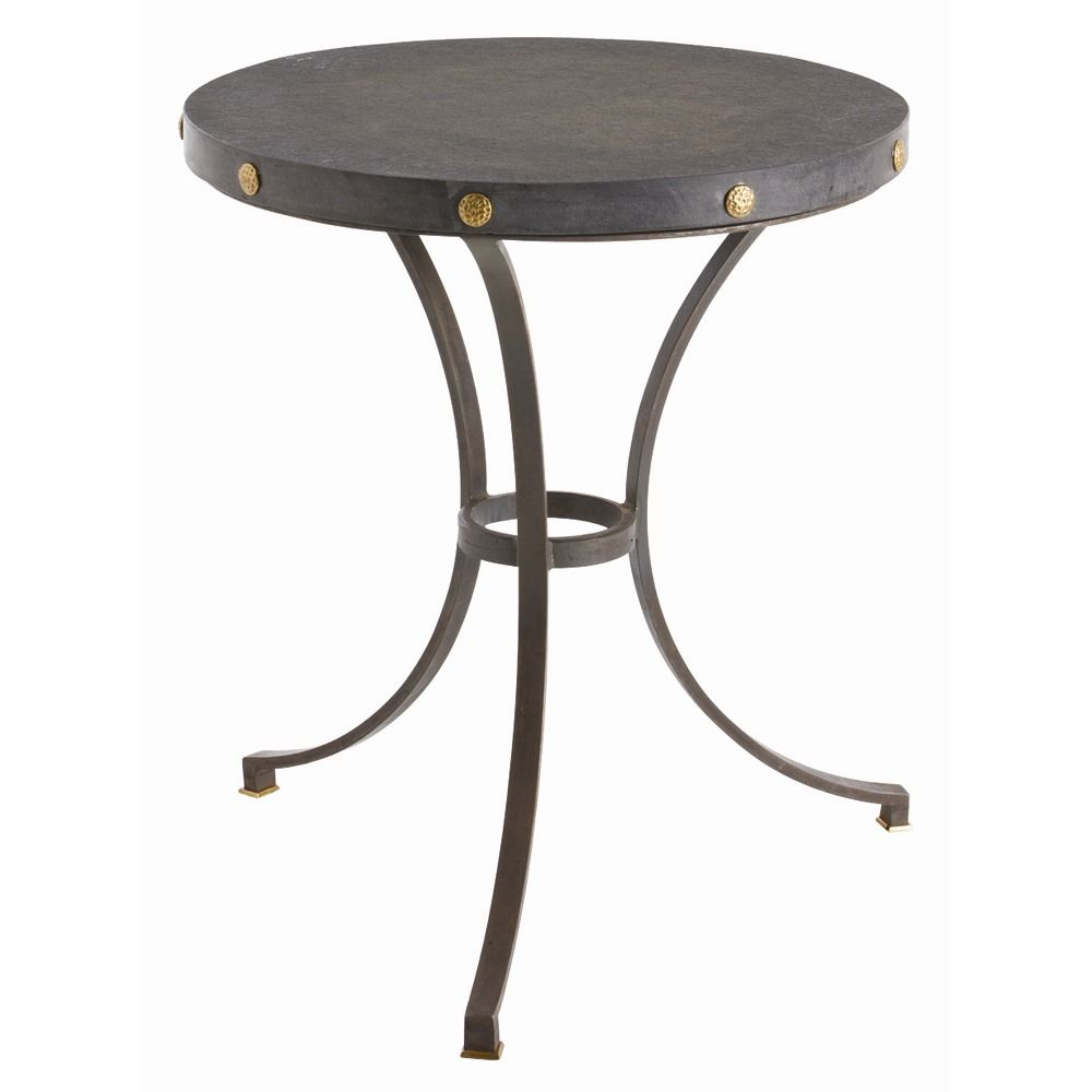 xander side table dia this round legged iron pottery barn jamie accent base with honed black marble top and brass accents like the perfect dress for wine rack drawer ikea kids