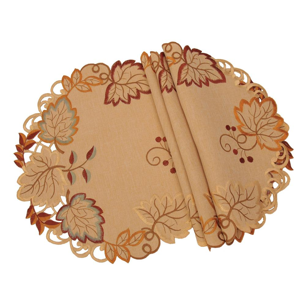 xia home fashions round harvest verdure indoor fall decorations table accent placemat embroidered cutwork placemats set nautical post light furniture coffee tables plastic patio