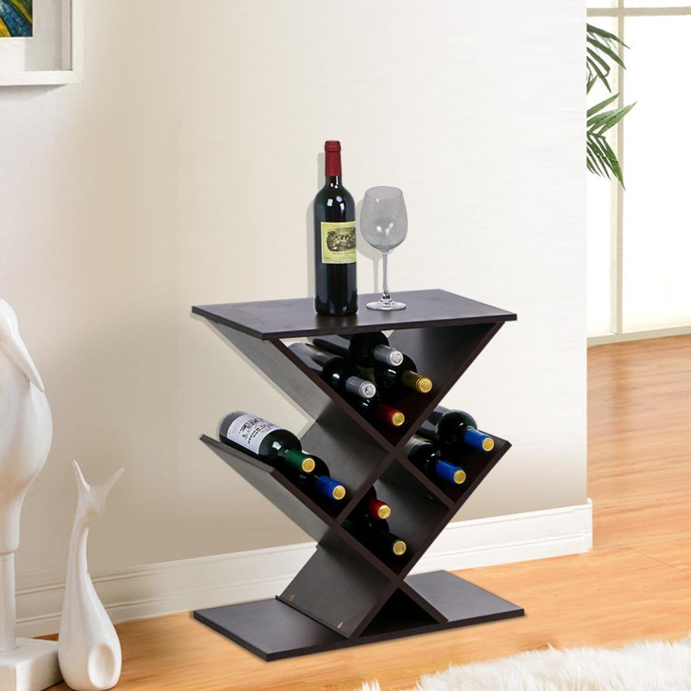 yaheetech brown wood zig zag accent table narrow wine rack free with standing media storage shelf stand home kitchen style chairs wicker stacked crystal lamp safavieh collection