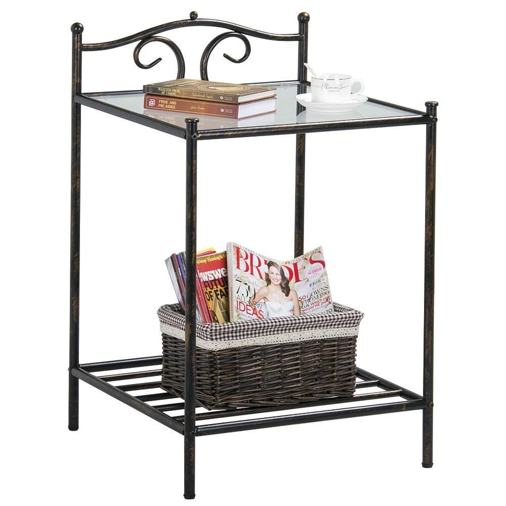 yaheetech modern end side table nightstand accent wicker storage with shelf chairside home furniture high glass top kitchen dining smoked mirror bedside narrow hallway patio and