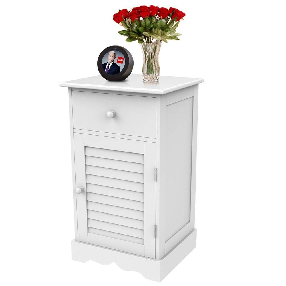 yaheetech nightstand end table with one drawer and accent drawers slatted door wooden sofa side storage cabinet white kitchen dining reasonably furniture ikea cube ethan allen
