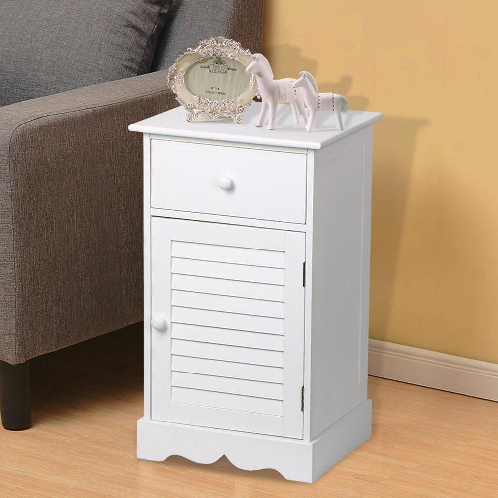 yaheetech nightstand end table with one drawer and accent slatted door wooden sofa side storage cabinet white kitchen dining elastic covers narrow console inches deep drum stool
