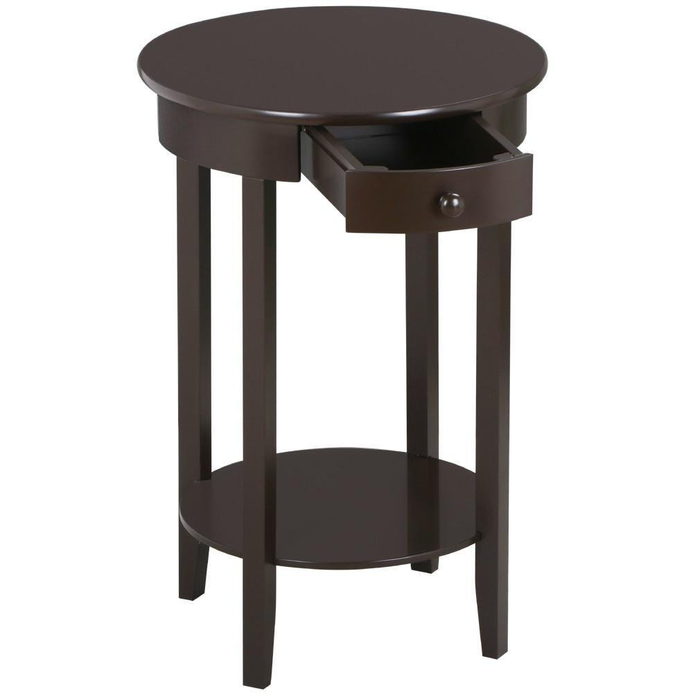 yaheetech round sofa side end table with drawer and accent shelf bedside nightstand living room tall tables for small spaces wooden espresso flexible carpet transition strip