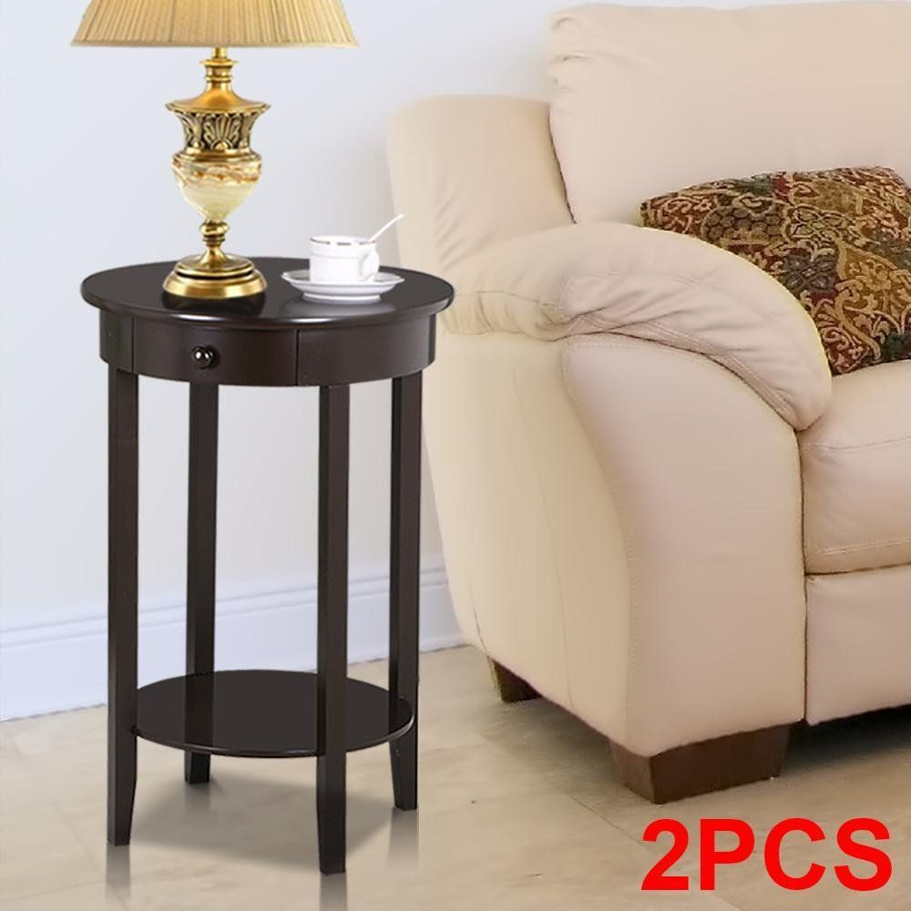 yaheetech round sofa side end table with drawer wood beside accent tables for small spaces nightstand console living room tall coffee espresso square lucite comfy armchair plastic
