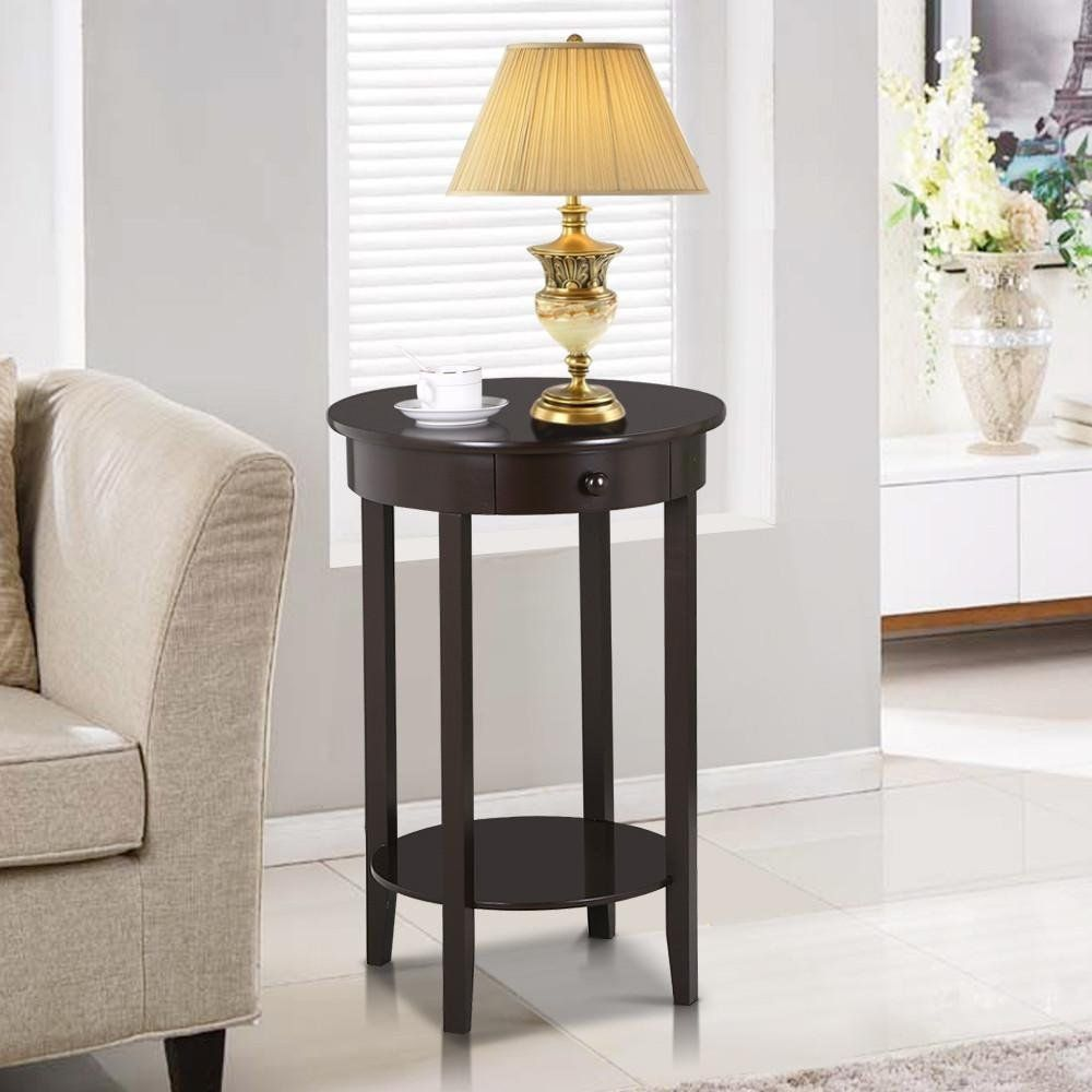 yaheetech round sofa side end table with drawer wood beside tall accent tables living room small glass top coffee butterfly led lights industrial farmhouse short lamps counter