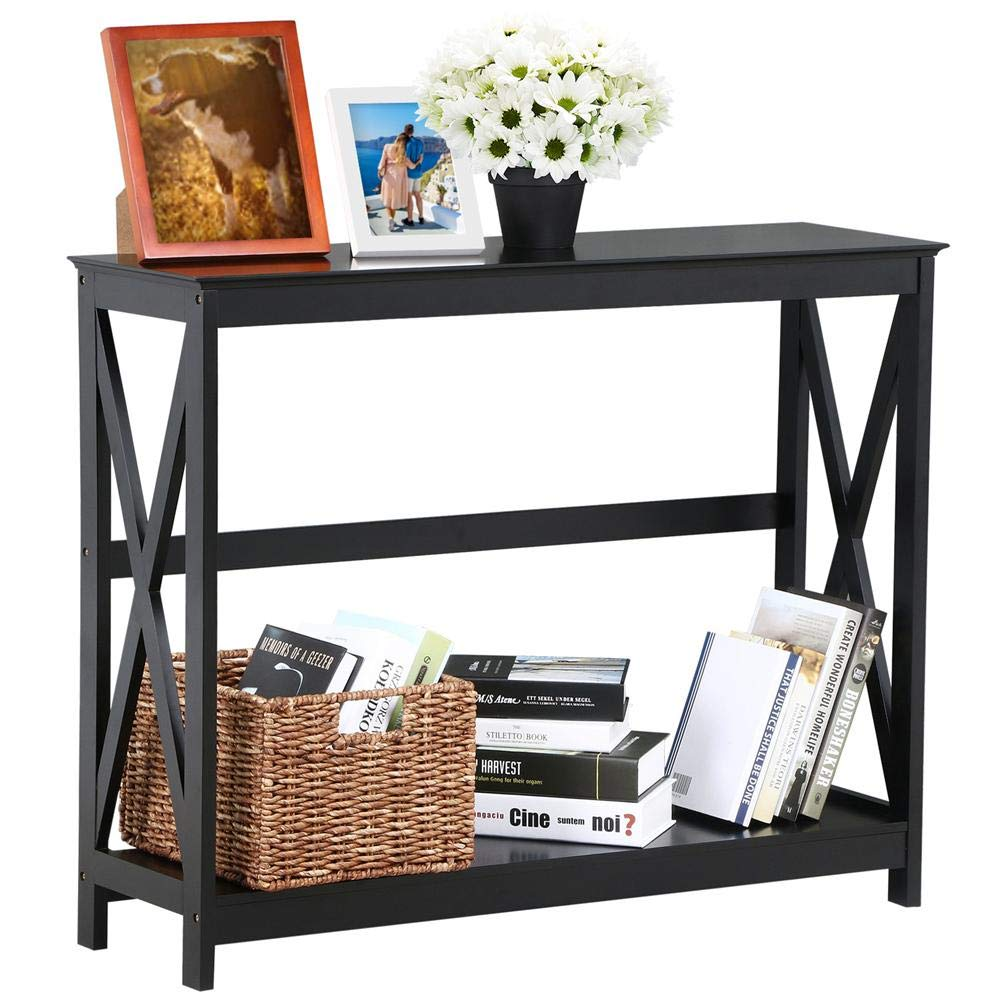 yaheetech tier design occasional console sofa side accent table with shelf bookshelf entryway tables storage living room entry hall furniture black glass top outdoor trestle