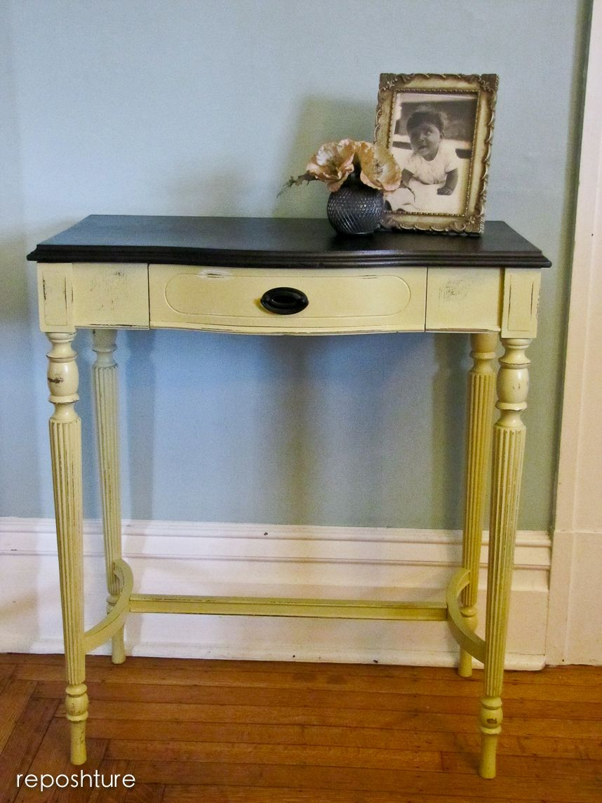 yellow accent table with black top furniture make repurpose octagon side blue living room accessories patio for small patios vintage mirror square tablecloth dining edmonton