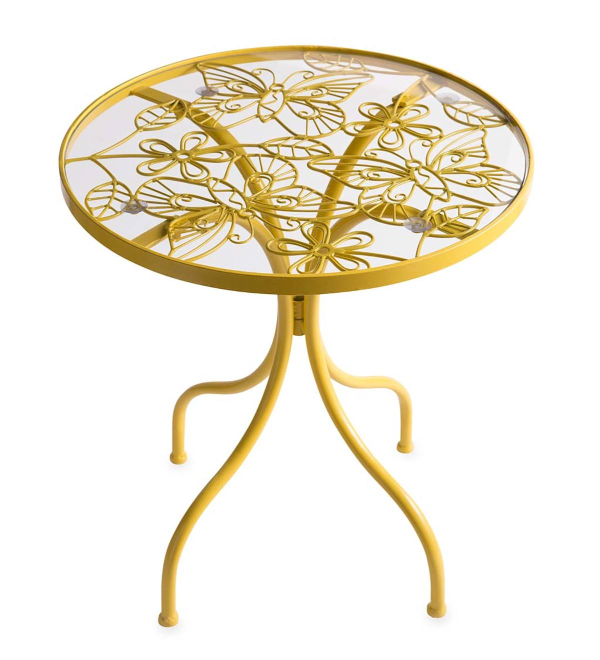 yellow butterfly metal side table plowhearth glass accent inch small gray decorative wine rack bedside lights marble top end tables outside chairs clearance deck furniture red