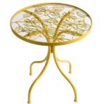 yellow butterfly metal side table plowhearth outdoor accent small patio with umbrella leather chairs porch furniture gold glass top coffee diy rustic large contemporary mcguire 150x150