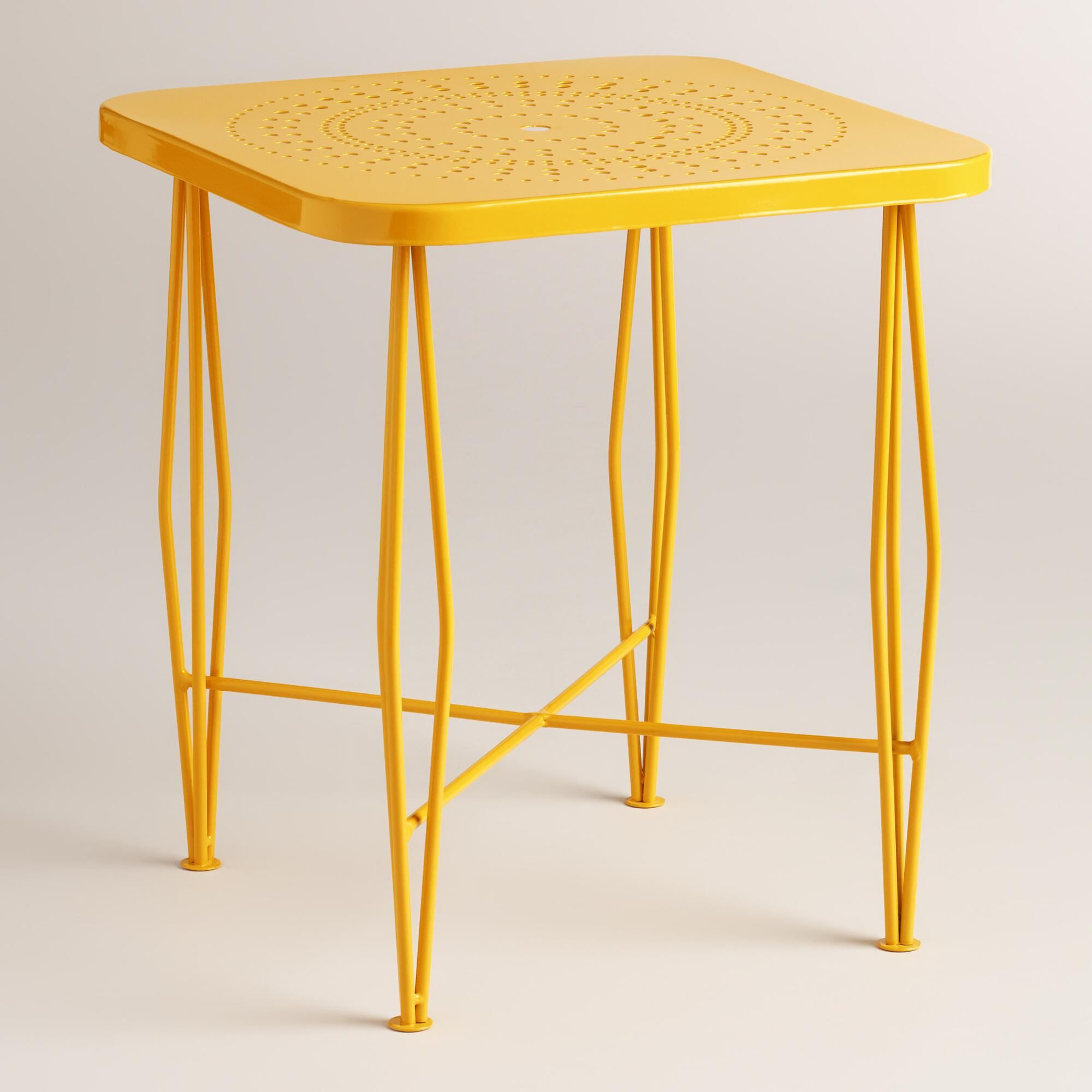 yellow metal alyssa outdoor hairpin side table world market iipsrv fcgi drum style end tables gun storage furniture bar height and chairs country cottage decor steel pipe design