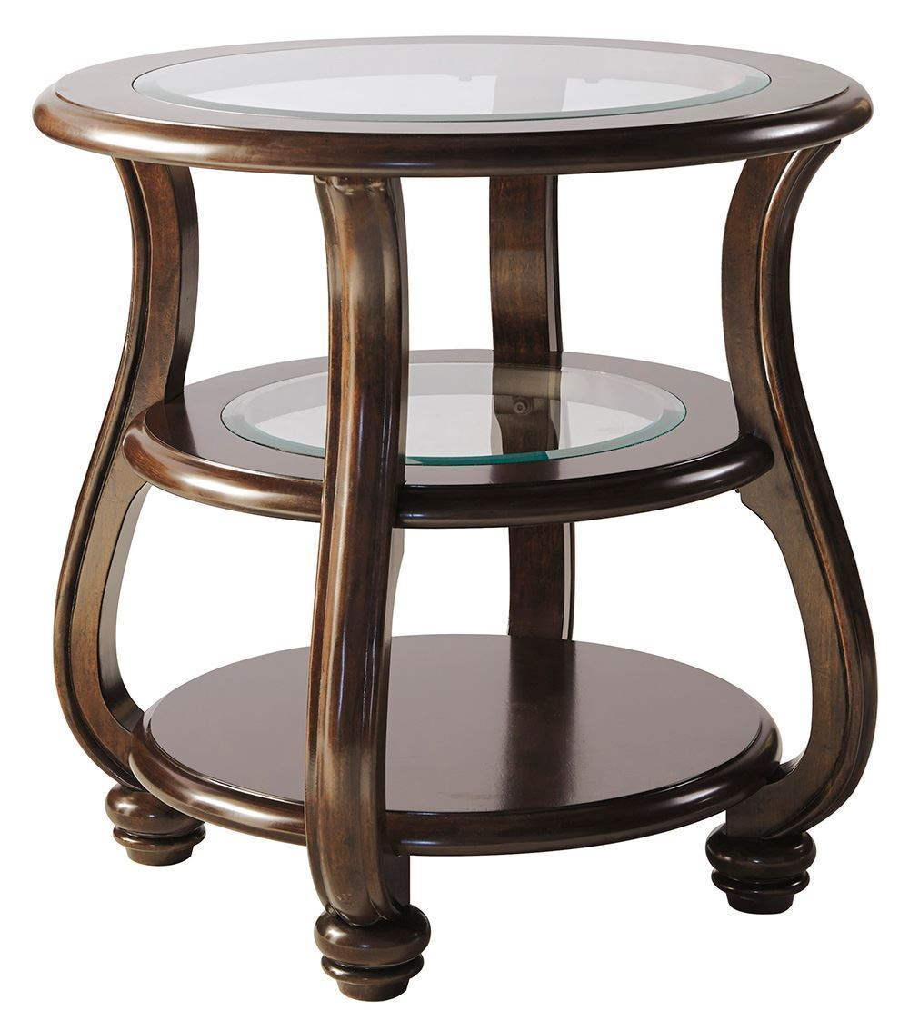 yexenburg brown round end table the furniture mart twisted mango wood accent ture art pottery barn outdoor battery lamps target buffet inexpensive nightstands ikea nesting tables