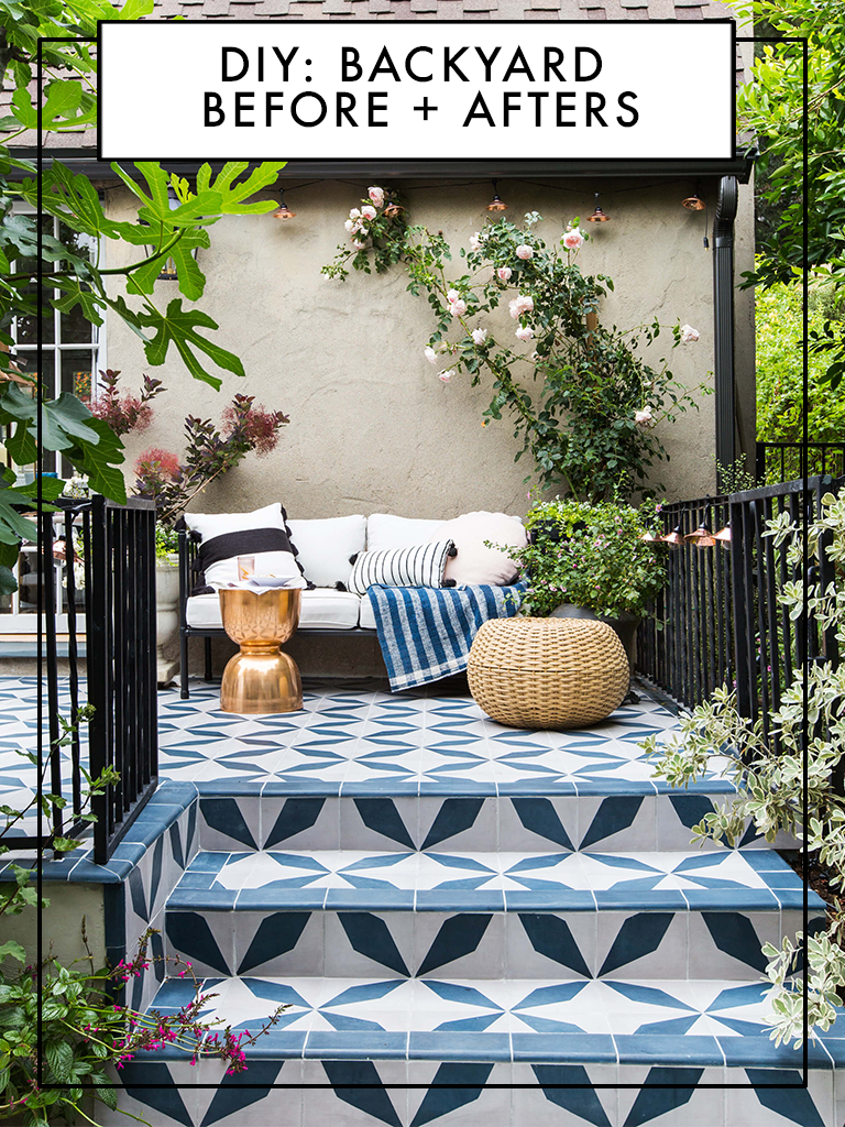 you need see these transformative backyard before afters bella green mosaic outdoor accent table this how transform your pergola tiles patio decor inch furniture legs extra wide
