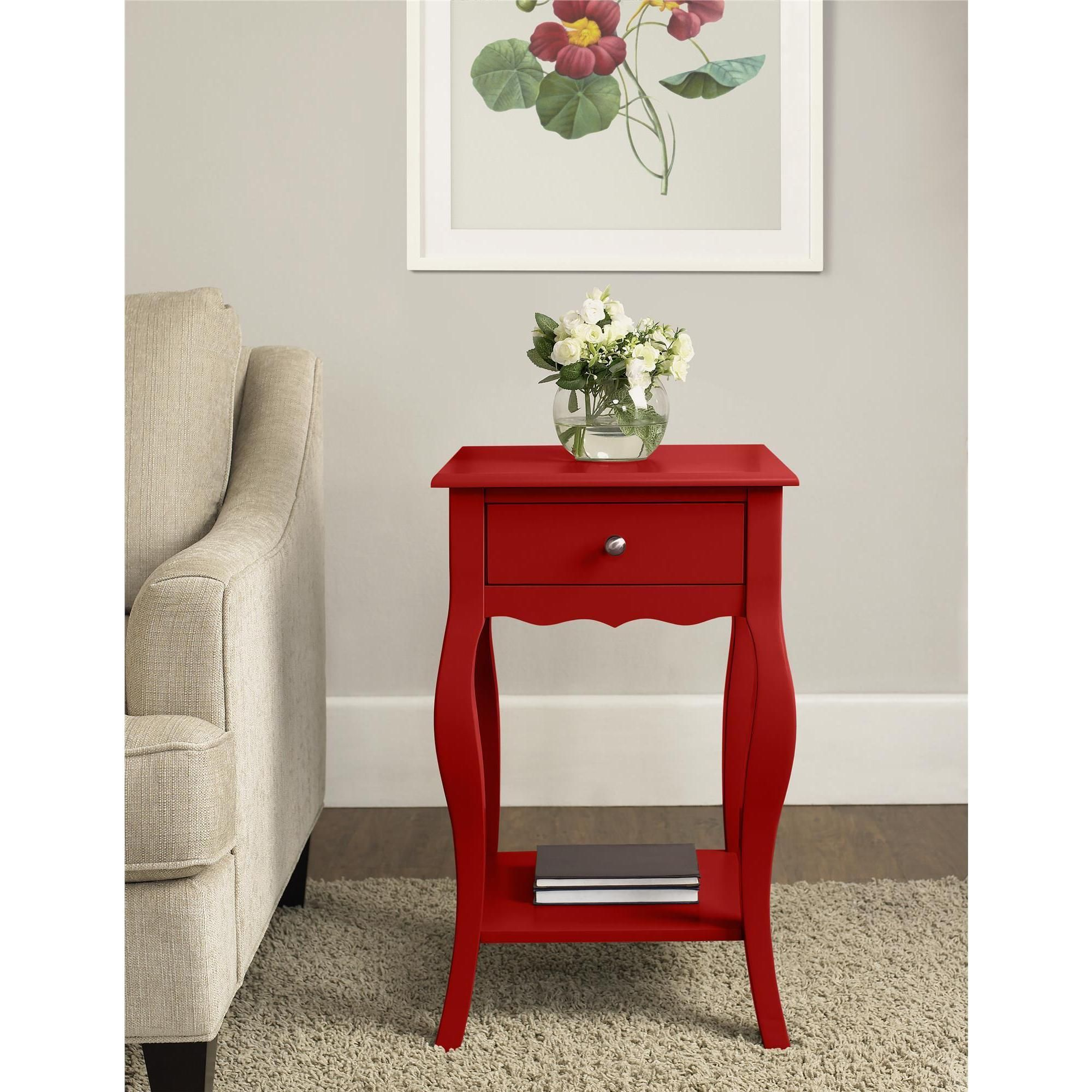 your stuff style with the altra furniture small end table tipton round accent this elegant piece features drawer and bottom shelf organize space drinking glass sets square bedside