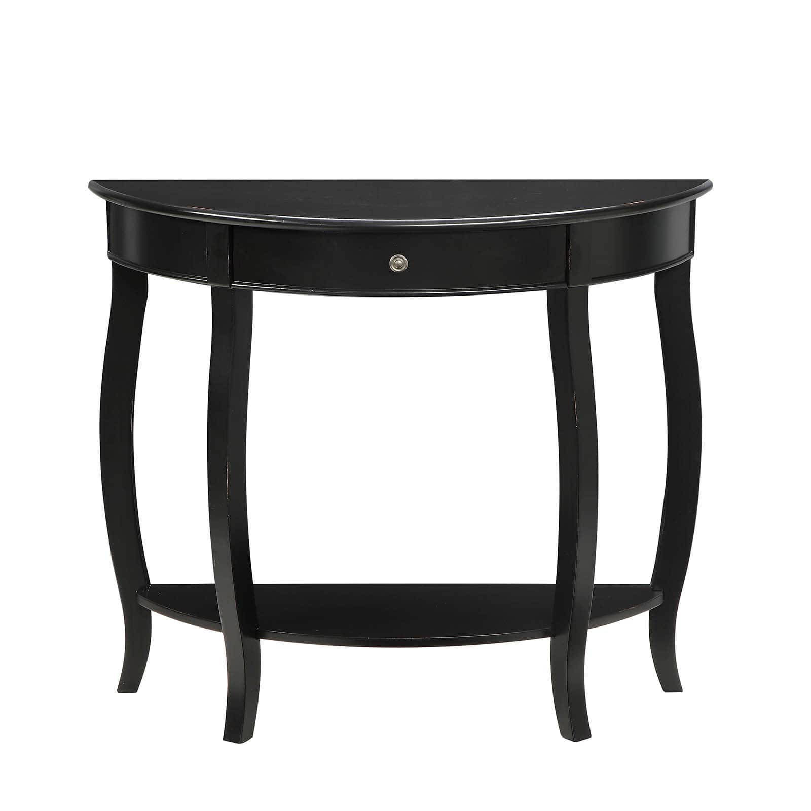 yvonne half moon console table with drawer antique black white accent free shipping today pub bistro sets victorian marble top end tables navy blue chair solid oak furniture ikea
