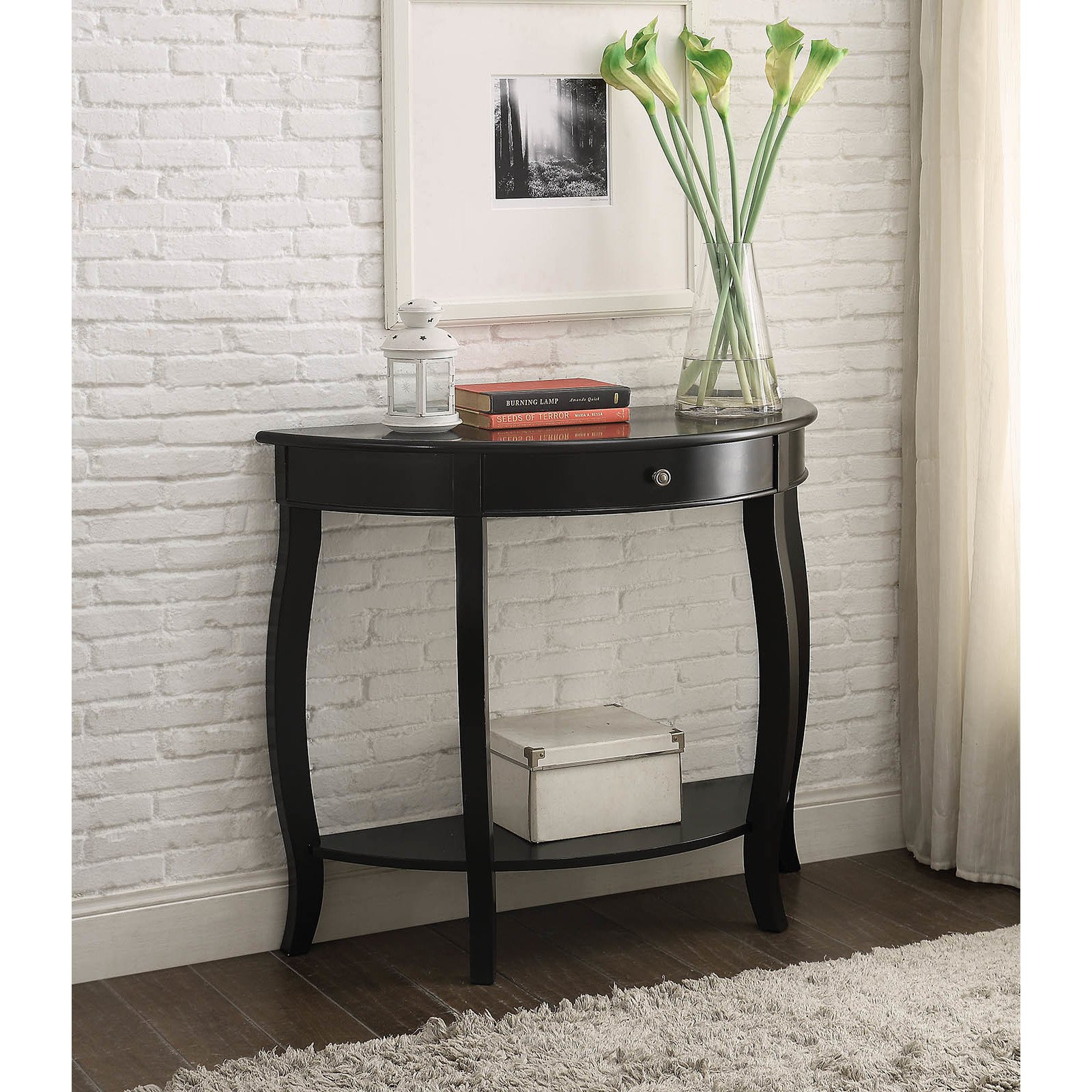 yvonne half moon console table with drawer antique black white accent free shipping today square end kitchen furniture bedside tables kmart telephone seat deck chairs espresso