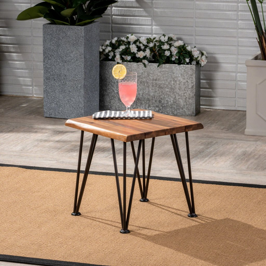 zahir outdoor industrial iron teak finished acacia wood accent metal table rustic furniture rattan chairs black and white patio umbrella sofa cover clermont grey side pieces for
