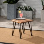 zahir outdoor industrial iron teak finished acacia wood accent metal table target black coffee bar dining set small mirrored nightstand wine white garden furniture sets square 150x150