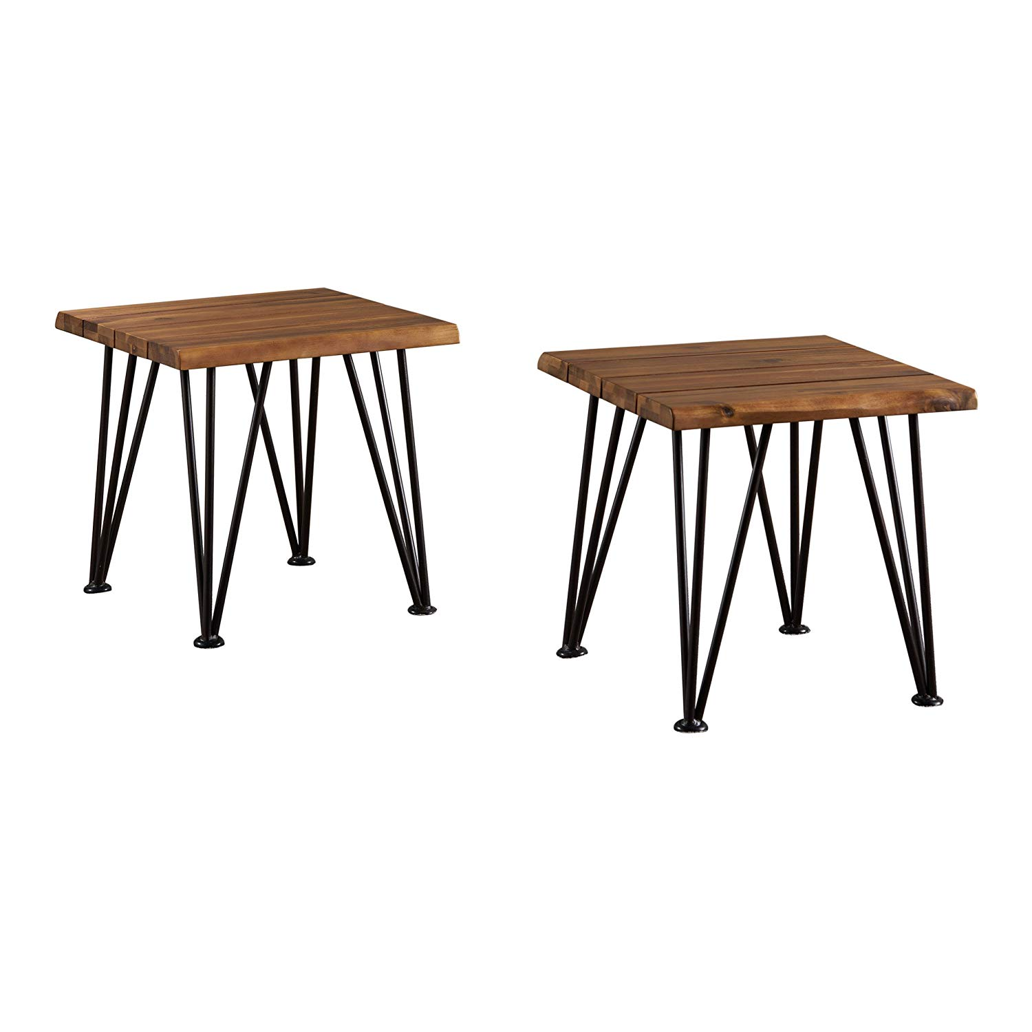 zahir outdoor industrial iron teak finished acacia wood accent table qty garden black bedside pier dining room chairs hand painted drawers cute side tables furniture patio stump