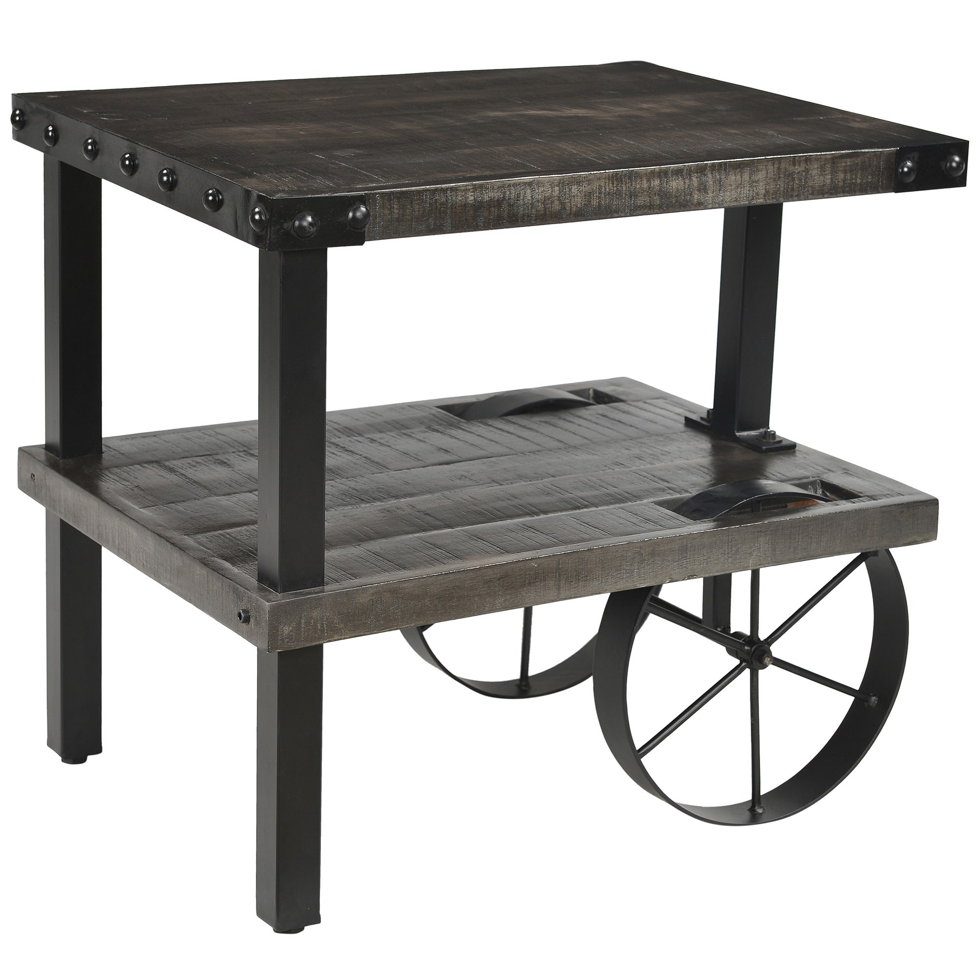 zahir solid wood and cast iron accent table distressed grey mango black free shipping today furniture home decor large ginger jar lamps room essentials queen comforter wicker ikea