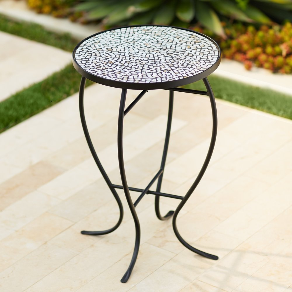 zaltana mosaic outdoor accent table home and garden stone products narrow sofas for small spaces marble top coffee toronto washer dryer floor lamp set clear acrylic end colourful