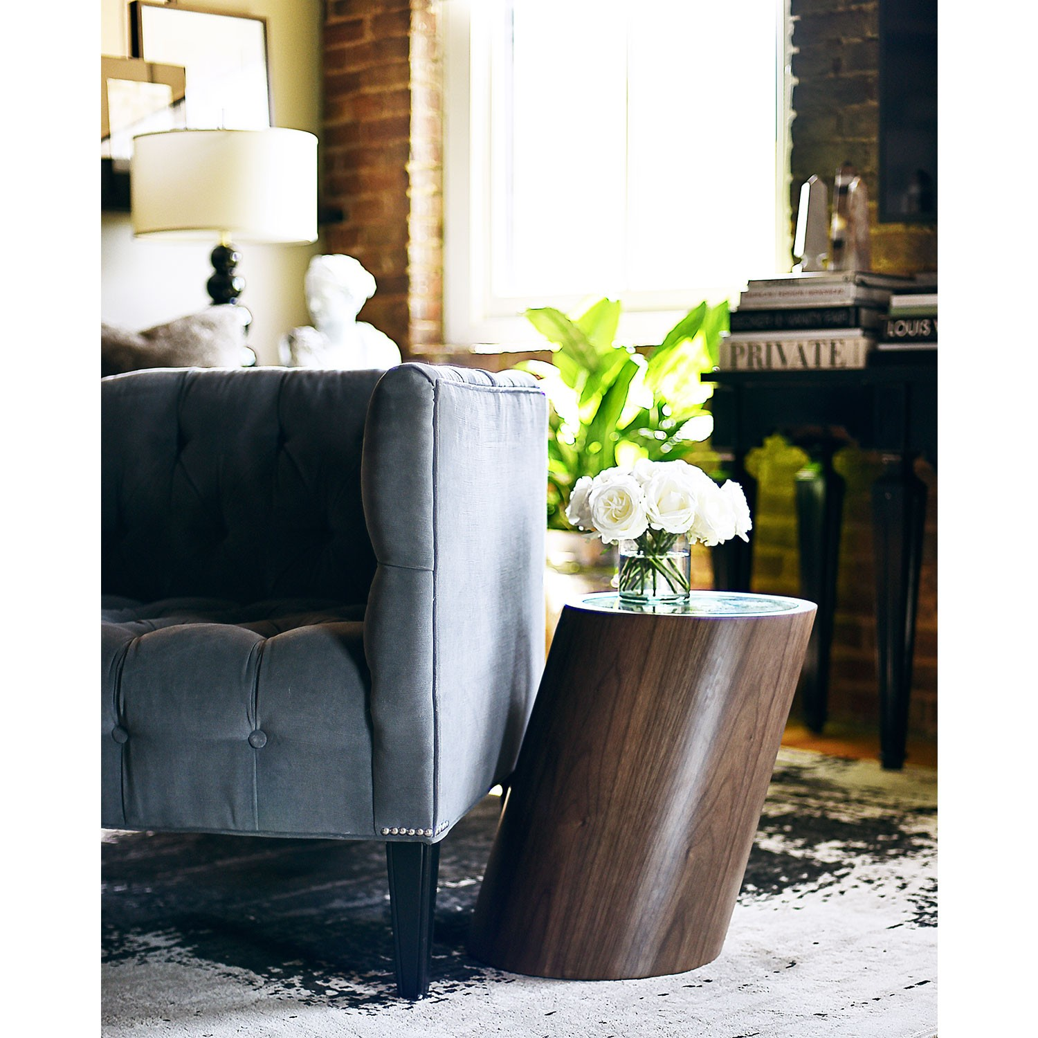 zane cylinder side table symmetric walnut jkm home accent black full size bunkie board console kmart bedside modern and contemporary furniture pedestal ikea rustic round coffee