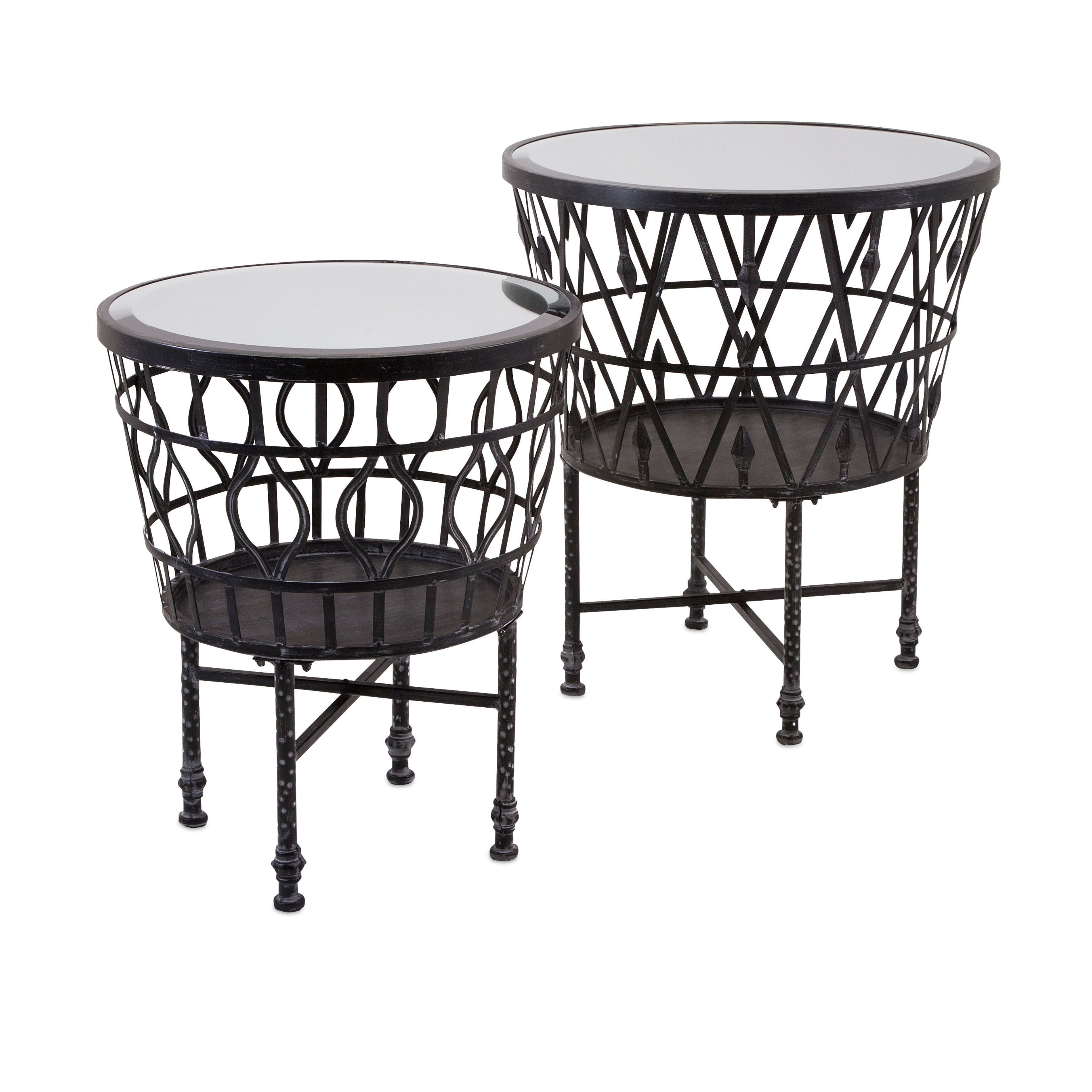 zaria drum mirror accent tables set occasional table black storage imax brown wrought iron and silver coffee small side with drawers cabinet furniture beach themed floor lamps