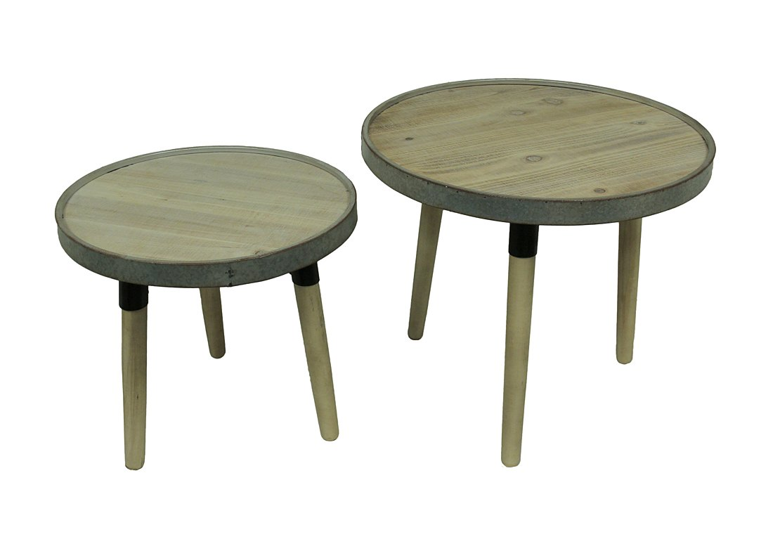 zeckos set rustic round wood and galvanized metal accent table tables reclaimed oak ceramic outdoor side retro kitchen chairs cover ideas hairpin leg bar stools end with drawers