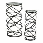 zinc decor modern iron spiral glass top accent tables avani drum table set kitchen dining annie sloan provence chocolate brown end metal chair bar style nautical globe lights west 150x150