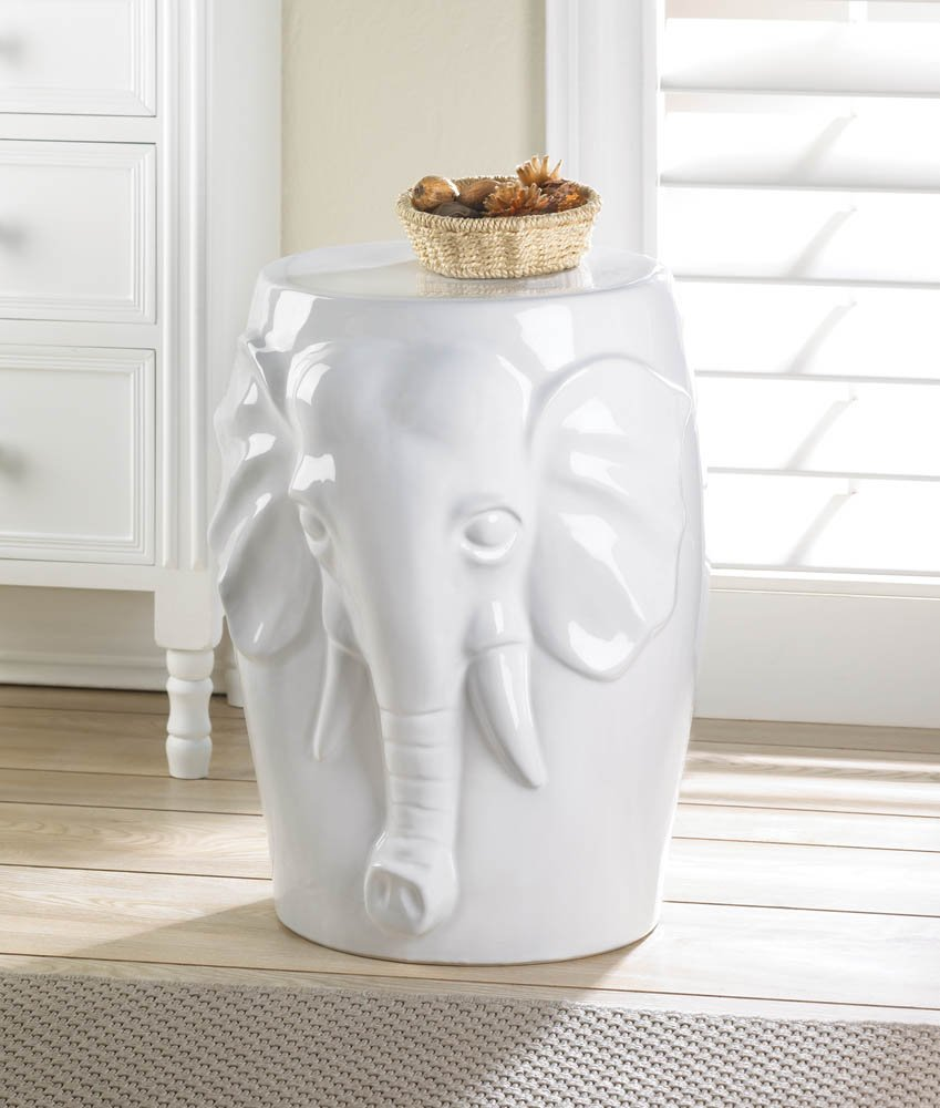 zingz thingz elephant ceramic decorative accent table stool home office spa weddings party special occasions kitchen dining top lighting portland corner ikea distressed tables