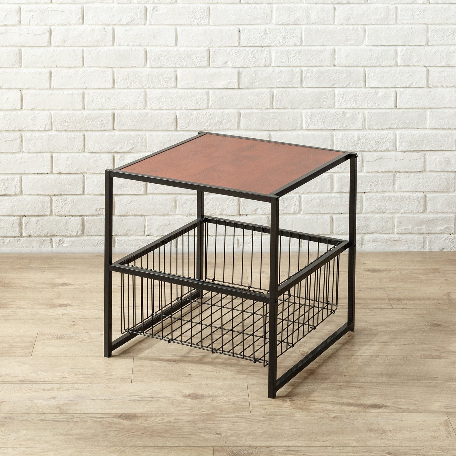 zinus dane modern studio collection inch deluxe side wire basket accent table end coffee night stand with metal storage kitchen dining wood and tables black patio umbrella high