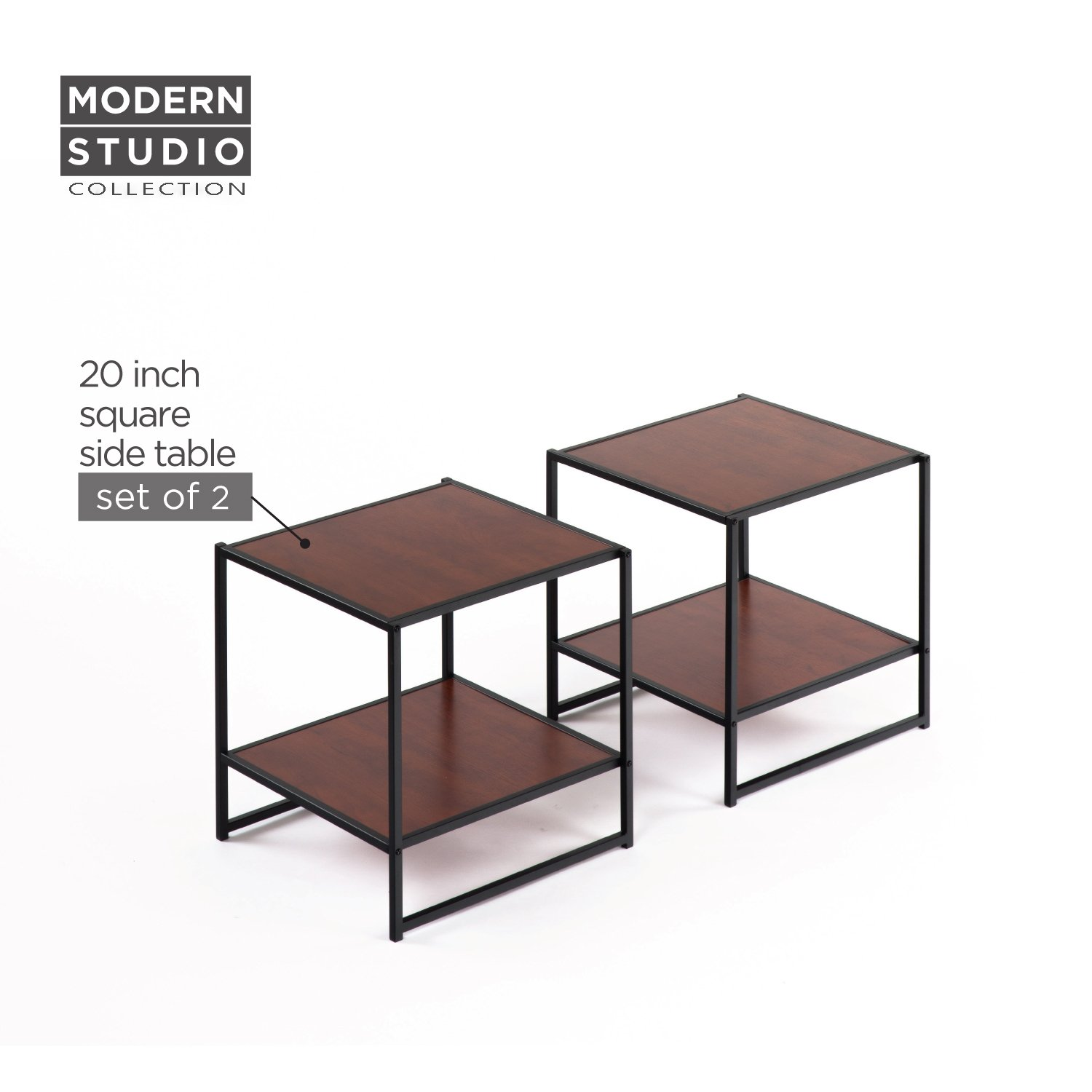 zinus modern studio collection set two inch square accent table collections side end tables night stands kitchen dining narrow nightstand with drawers very small furniture paper