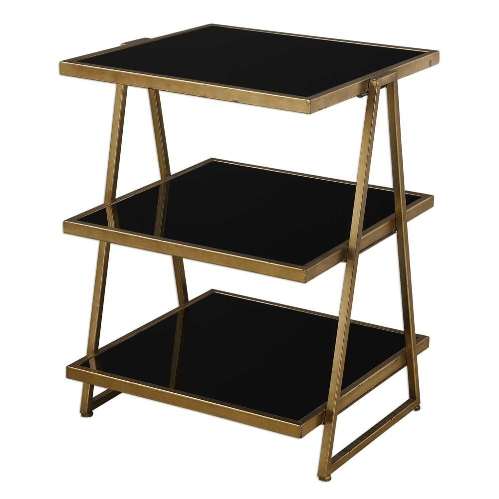 zis contemporary furniture side tables uttermost utt garrity black glass accent table asher blue dining clearance lawn tablecloths and napkins teak chaise lounge narrow entryway