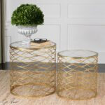 zoa bright gold leaf glass top side tables zin home accent table round small end circular cover drop oak with drawer distressed entry vanity lucite acrylic coffee modern lamps 150x150