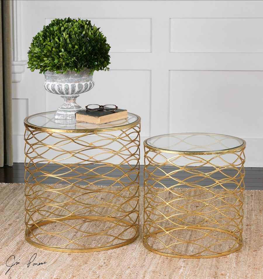 zoa bright gold leaf glass top side tables zin home accent table round small end circular cover drop oak with drawer distressed entry vanity lucite acrylic coffee modern lamps