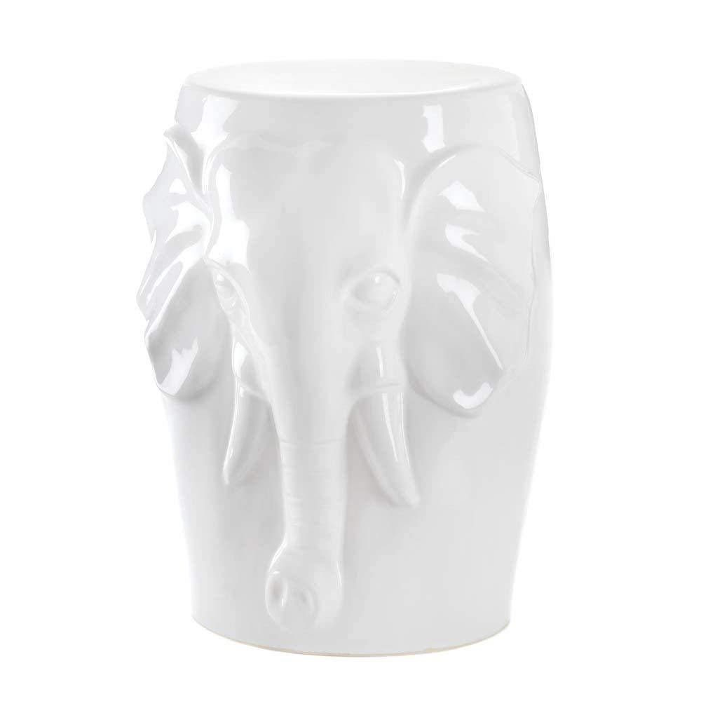 zodax ceramic accent stool white table design garden elephant decorative indoor outdoor low tall kitchen bar small lamp black side with drawer trestle furniture for less butcher