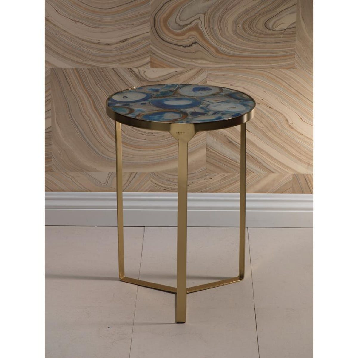 zodax inch high sardaigne blue agate end table modish accent small round white coffee black marble uttermost dice red wooden garden contemporary plexiglass cube turquoise pieces