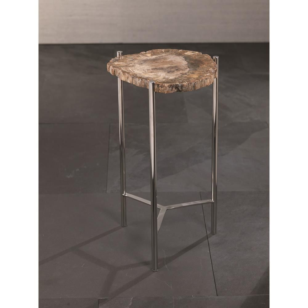 zodax pierce petrified wood accent table inch tall pub tops small round glass dining wine cabinet white contemporary coffee square nesting tables chairs with arms wrought iron