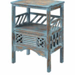 zowen blue accent table transitional ashley furniture ott porcelain lamp drum bench distressed tables light mango wood silver grey tablecloth end coffee leather stool round 150x150