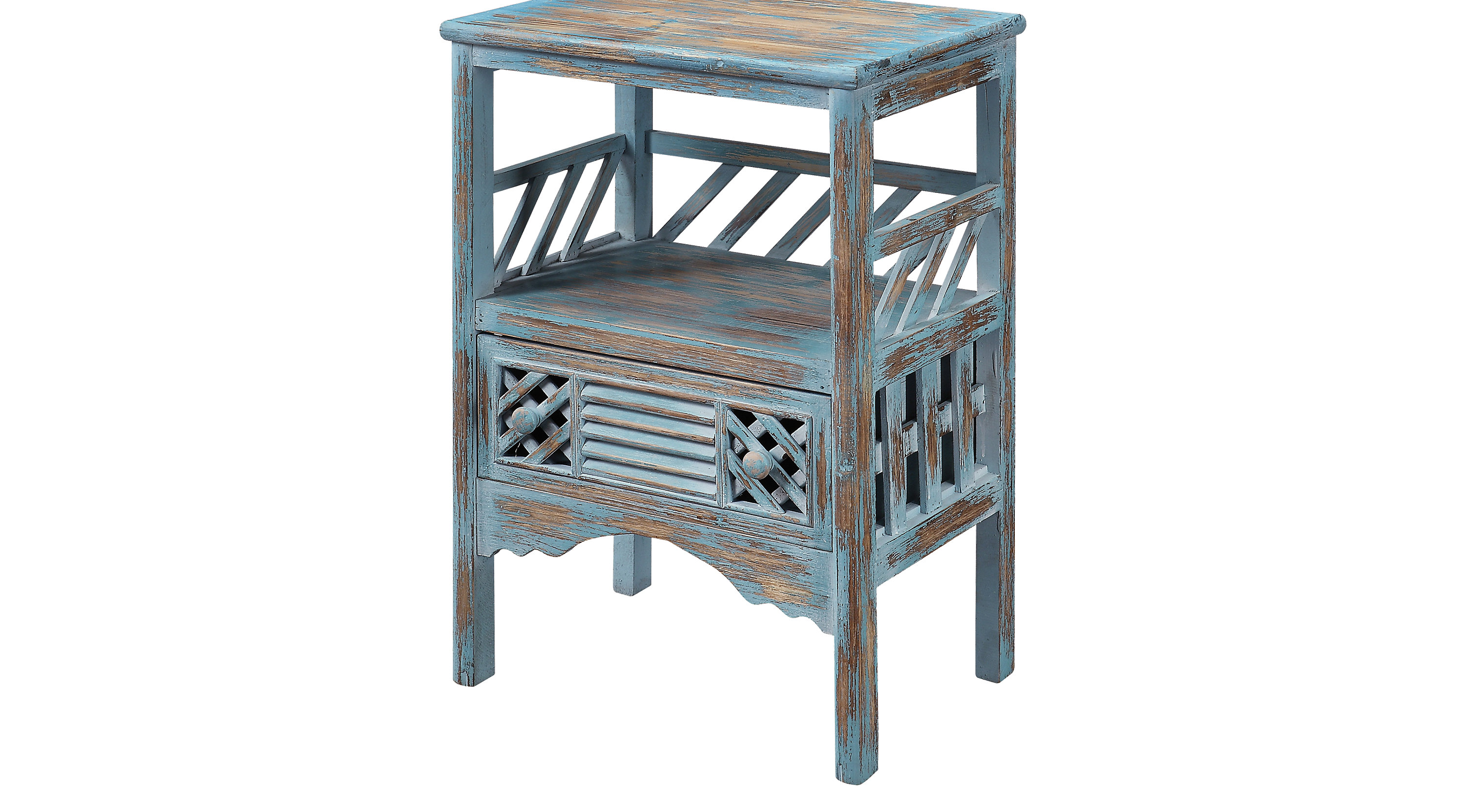 zowen blue accent table transitional ashley furniture ott porcelain lamp drum bench distressed tables light mango wood silver grey tablecloth end coffee leather stool round