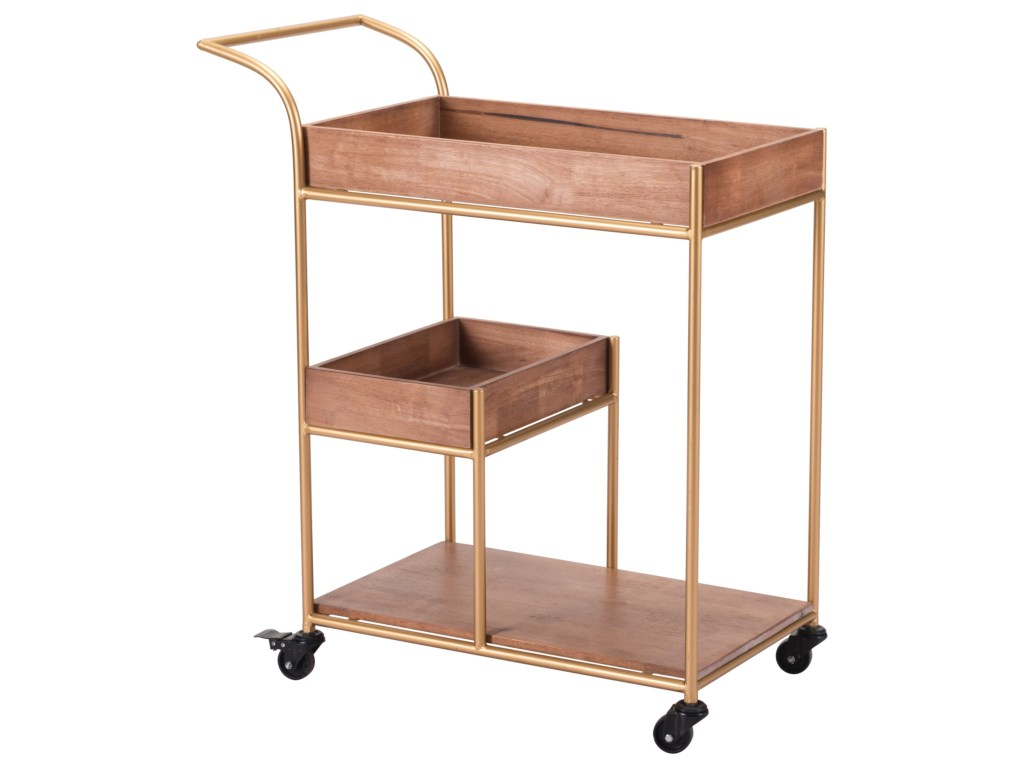 zuo accent tables bar cart with tray pedigo furniture products color table tablesbar cherry wood end drawer battery operated side lamps fairy lights metal top home library wooden