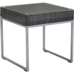 zuo outdoor side table brown weave tempered glass silver frame round foyer pottery barn changing farmhouse coffee set wood and iron sets black miera diamond mirrored accent 150x150