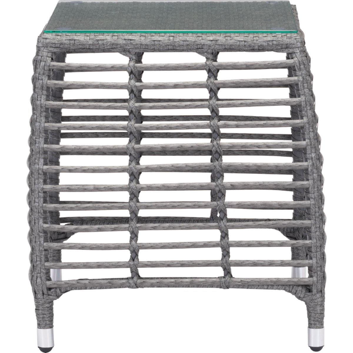 zuo trek beach outdoor side table gray synthetic weave glass top tempered tap expand white lamp gold square coffee kohls dishes grey console patio and chairs flip ashley furniture