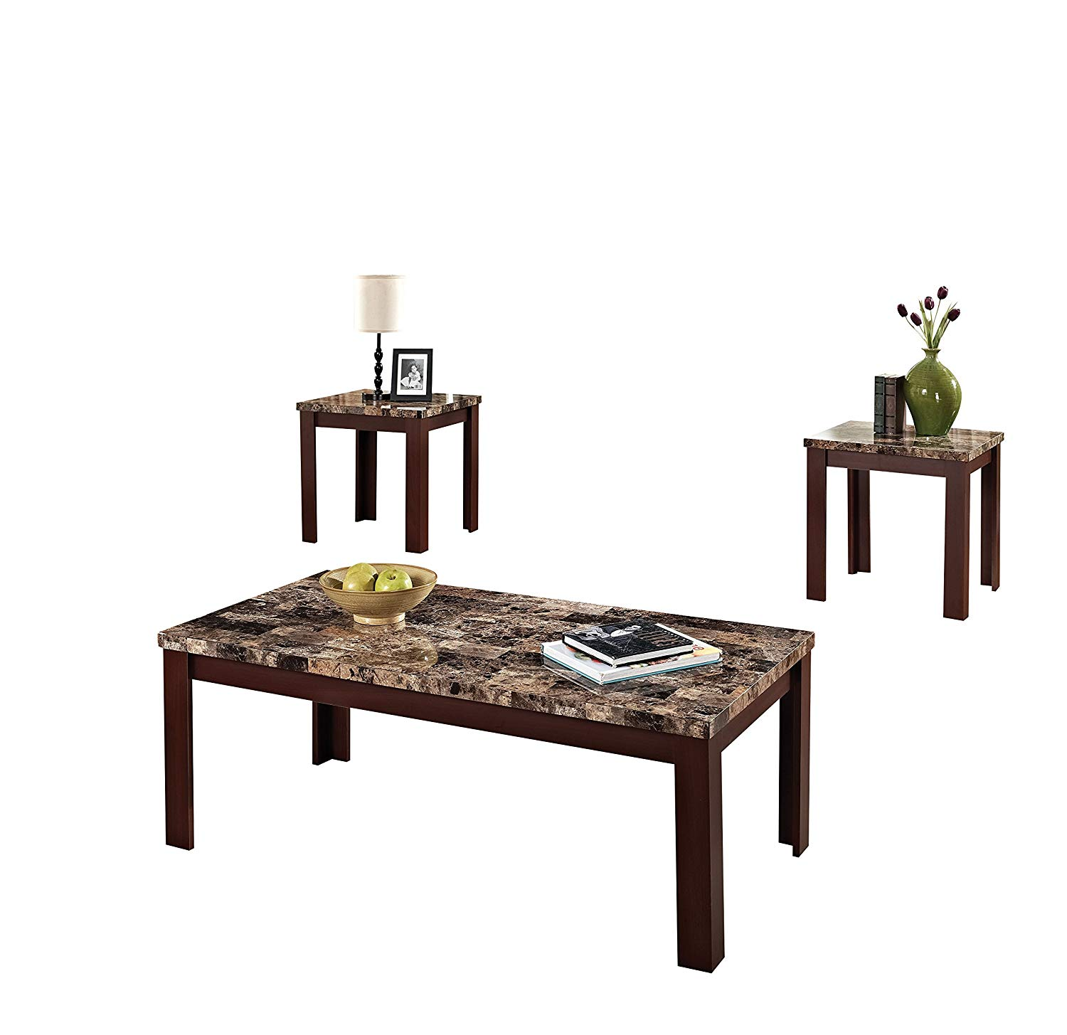 acme finely light brown faux marble coffee end table set tables kitchen dining oriental trunk ashley furniture wardrobe stanley retreat square clear glass big lots bronze floor
